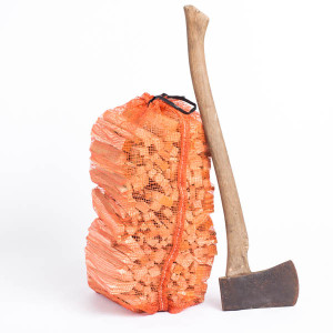 bag of kindling and axe