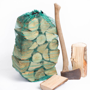 bag of logs and axe