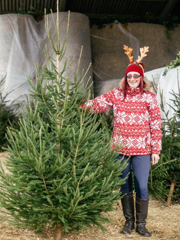 Tessa Burdfield with Christmas tree